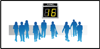 El sistema administra y organiza la atención al público, ordena la fila.